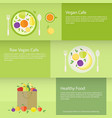 banners or cards with fruits plate and package in vector image vector image