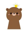 bear grizzly face head icon cute kawaii animal vector image