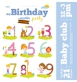 Birthday anniversary numbers with cute animals and vector image vector image