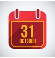 Calendar 31 October Flat calendar icon with long vector image