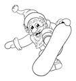 Cartoon Santa Claus makes jump on snowboard vector image vector image