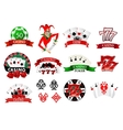 colored casino and poker icons vector image vector image