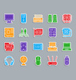 computer patch color sticker icons set vector image