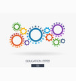 connected cogwheels education knowledge training vector image vector image