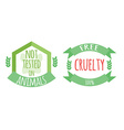Cryelty free and not tested on animals labels or vector image vector image