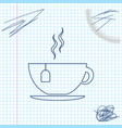 cup with tea bag line sketch icon isolated on vector image vector image