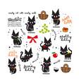 cute black cat cartoon doodle vector image vector image