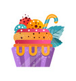 delicious colorful creamy cupcake sweet dessert vector image vector image