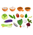 dishes and vegetables set vector image vector image