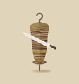 doner kebab with knife old background vector image vector image