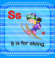 Flashcard letter s is for skiing vector image
