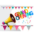 grand opening megaphone with flags vector image vector image