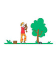 happy woman playing with dog on street in park vector image vector image