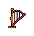 harp filled line icon vector image vector image