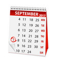 icon calendar for september 1 2017 vector image