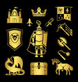knighthood in middle ages icons vector image vector image