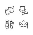 line theatre icons set on white background vector image vector image