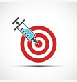 medical syringe with injection in target vector image