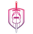 medieval helmet sword and shield on white vector image vector image