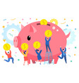 mini business people bring money in a giant piggy vector image