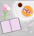 morning coffee and sweets vector image vector image