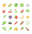pack of fruits and vegetables flat icons vector image vector image