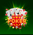 poker casino banner signboard background vector image vector image