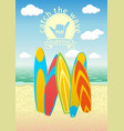 poster design with surf boards vector image vector image