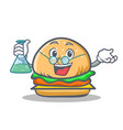 Professor burger character fast food vector image