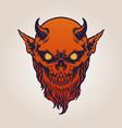 red devil satan horn with beard vector image