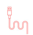red thin line usb cable vector image vector image