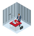 safe deposit boxes and security concept the man vector image vector image