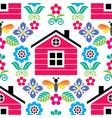 scandinavian folk art seamless pattern vector image vector image
