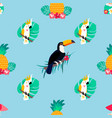 seamless pattern with parrots pineapple toucan vector image vector image