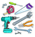set of carpentry tools drill saw and tape vector image vector image