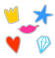 set of girl fashion patches cute cartoon vector image vector image