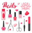 set of manicure tools vector image