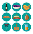 set of picnic food vector image