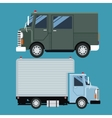 set truck delivery cargo mail vector image