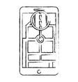 smartphone gps navigation map and pin road vector image vector image