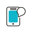 smartphone talk bubble social media icon line and vector image
