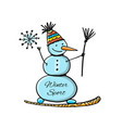 snowboarder snowman sketch for your design vector image