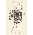 Street with Tram Vintage Engraved vector image vector image
