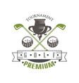 tournament golf premium logo elegant vintage vector image vector image