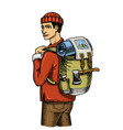 traveling man with backpack and luggage camping vector image vector image