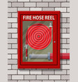 water hose to extinguish fire in cabinet vector image vector image