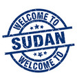 welcome to sudan blue stamp vector image vector image