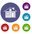 wooden log house icons set vector image vector image
