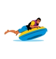 young man having lots fun on rubber ring going vector image vector image
