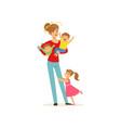 young mother with stars spinning around her head vector image vector image
